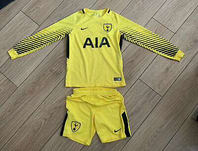 Boys Junior Tottenham Hotspurs Yellow Goalie Kit Age 10-12 Year 2018 • 20£