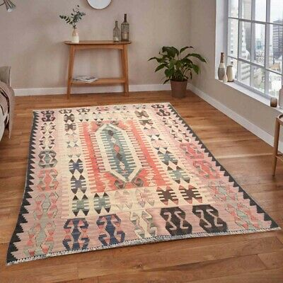 121 Vintage Turkish Kilim Handmade Anatolian Rug Floor Home Decor Floral Rug 5x4 • 60£