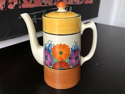 Clarice Cliff Bizarre Coffee Pot In Gay Day Pattern • 145£