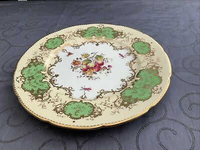 Antique Coalport Fluted Plate Hand Painted Green And Gold 'Old Coalport Period' • 20£