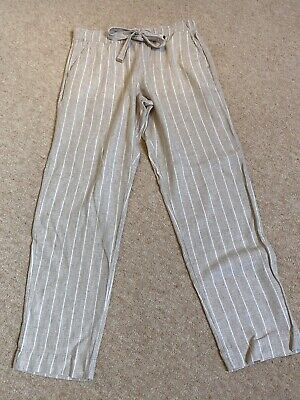M&S Collection Striped Linen Blend Trousers - Size 10 - Excellent Condition • 3£