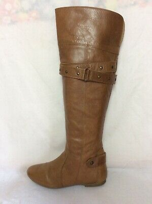 LADIES RED HERRING BROWN LEATHER KNEE HIGH BOOTS SIZE 35 Uk3 • 10.99£