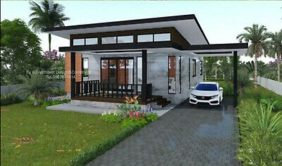 Custom House Home Building Plans 2 Bedroom 2 Bathroom & Garage With CAD File • 7.15£