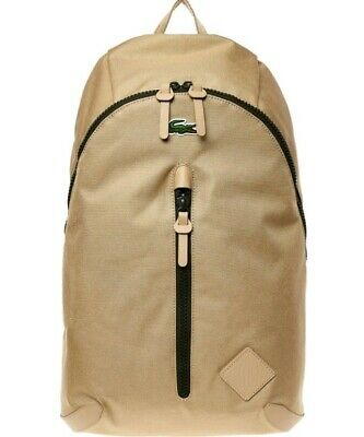 Lacoste Large Beige Backpack 55cm Rucksack With Leather Trim Rrp£135 • 30£