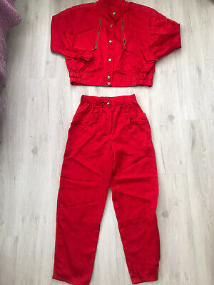 1980s Bright Red Tracksuit Shell Suit Jacket & Trousers Small Unisex Baggy • 25£