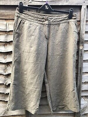 East 100% Linen Khaki Cropped Trousers Size 14 • 2£
