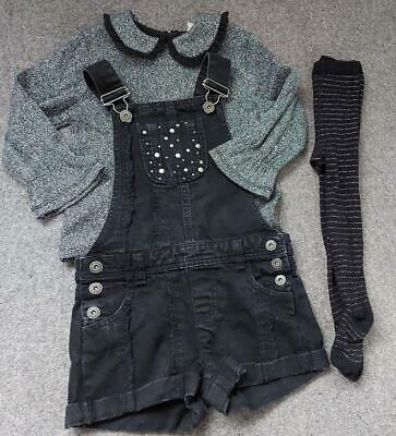 River Island Girls 3 Piece Outfit 2-3/3-4 Years Shorts Dungarees/top/tights • 8.99£