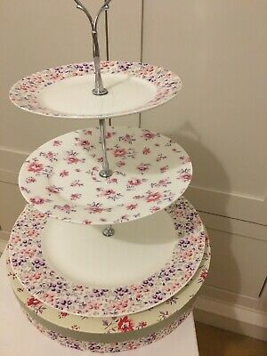 Three Tier Laura Ashley Cake Stand Used Once With Box • 14.99£
