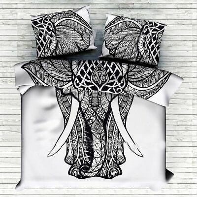 Indian Black & White Elephant Duvet Quilt Cover Bedding King Size Blanket Art • 26.99£