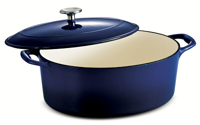 $ CDN164.87 • Buy Tramontina Gourmet 7 Qt Enameled Cast-Iron Covered Oval Dutch Oven Gradated Blue