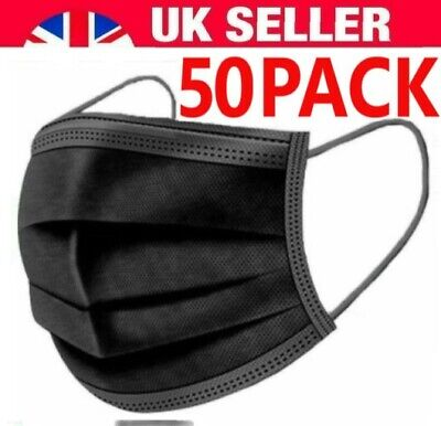 Face Mask Surgical Disposable 3 Ply Layer Medical Mouth Covering Masks [50-pack] • 5.99£