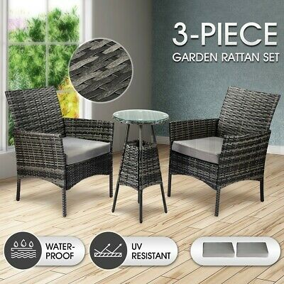 AU239.95 • Buy Outdoor Furniture Lounge Sofa Rattan Wicker Table Chairs Set 3 Pcs Patio Garden