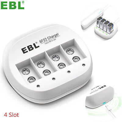 EBL 4 Slots Rechargeable Battery Charger For 9V 9 Volt Li-ion 6F22 Batteries • 7.99£