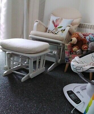 Dutailier White Wooden Glider  Lock  Maternity Nursing Chair And Wood Foot Stool • 55£