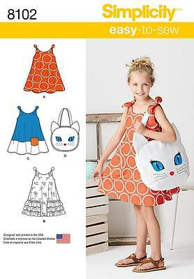£10.50 • Buy Simplicity Easy SEWING PATTERN 8102 Childs Sundress & Kitty Tote Bag Age 3-8
