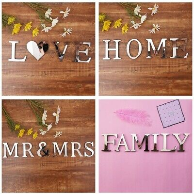 4 Letters Love Home Famly Furniture Mirror Tiles Wall Sticker Self-Adhesive Art • 2.99£