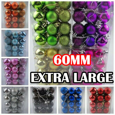 24x Glitter Bright Christmas Tree Balls Ornament Baubles Xmas Party Home Decor-Y • 3.95£