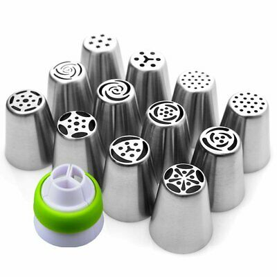 12pcs Russian Flower Icing Piping Nozzle Tips Cake Topper Decor Baking Set DIY • 7.99£