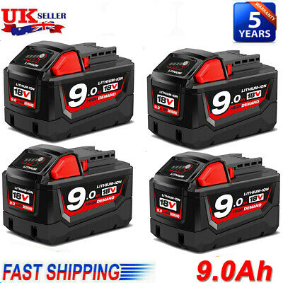 4) For Milwaukee M18 Lithium XC 9.0 Ah Extended Capacity Battery Pack 48-11-1852 • 46.99£