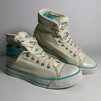Superdry Women's Baseball Boots Canvas Hi Top Turn Downs Trainers Size Uk 5 New • 19.99£