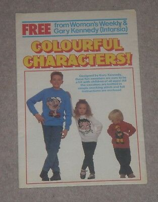 Knitting Leaflet Pull-out Popeye, Betty Boop, Fireman Sam Children's Sweaters • 0.99£
