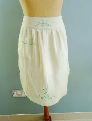 Vintage 1950s Apron Irish Linen Embroidered Shamrock Ladies Pinny 50s Housewife • 16.19£