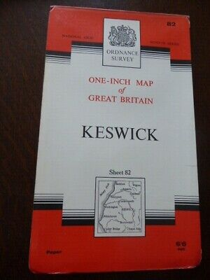 O.s. One-inch Map Of Great Britain - Keswick 82 - Seventh Series 1965 • 3.50£