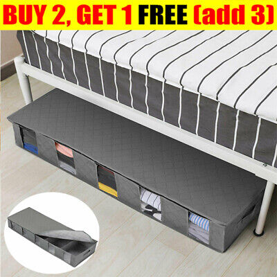 New Large Capacity Under Bed Storage Bag Box 5 Compartments Clothes Organizer • 6.99£