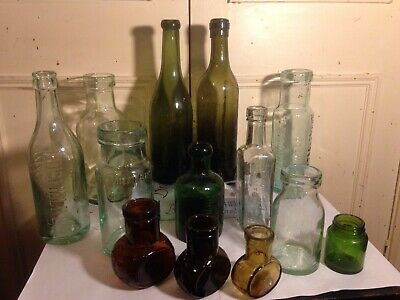 Job Lot Vintage Glass Chemist Bottles/ Jars/ Bovril Jars Embossed With Names G • 17.50£