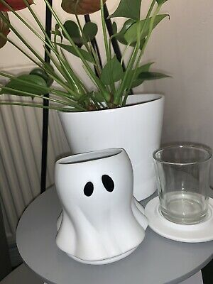 New Yankee Candle Halloween Small Glowing Ceramic Ghost Votive Holder • 15£