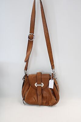 Women's KAREN MILLEN Tan Brown Leather Saddle Crossbody Bag 29x27x4cm - D36 • 21£