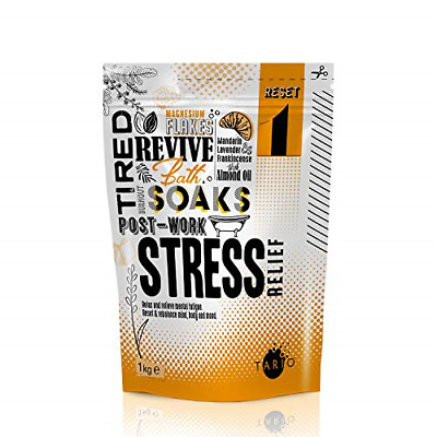 TARIO Stress Relief Bath Salts - 100% Natural Magnesium Flakes Blended With Oils • 16.49£