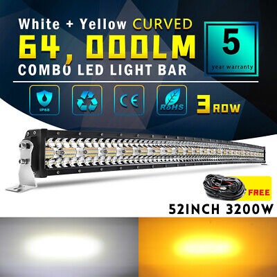 $140.24 • Buy 3200W 50INCH Curved White Amber Strobe LED Light Bar Spot Flood Offroad 52  Wire
