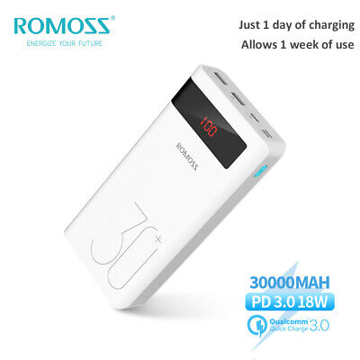 AU35.68 • Buy ROMOSS 30000mAh Power Bank USB-C 18W PD QC3.0 Fast Charge LED For IPhone Samsung