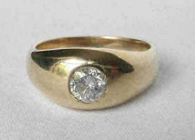 £103.99 • Buy Vintage 14K Yellow Gold Over Mens 1.00 CT Round Cut Diamond Solitaire Pinky Ring
