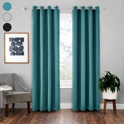Single Door Curtain Thermal Blackout Curtains Read Made Eyelet Top Ring Bedroom • 10.09£