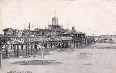 New Brighton Pier With Adverts On Side Of Pier Early Postcard Used 1906 • 5£