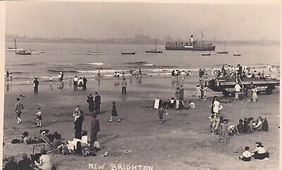 New Brighton Beach  Real Photo Postcard Unused • 2£