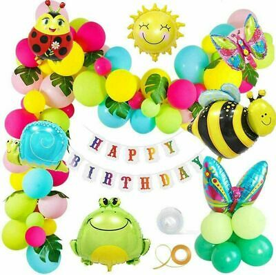 £9.48 • Buy Insect Frog Snails Bee Sun Animal Foil Balloon Happy Birthday Banner Party Decor