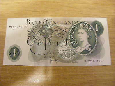 One Pound Banknote J Page MT22 494517, UNC Very Crisp Replacement Note • 2.50£