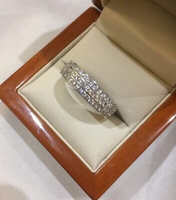 Silver Women's 925 Sterling Silver Pave CZ Thick Full Eternity 3 Lines Ring 6mm • 15.99£
