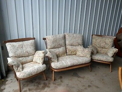 Ercol Windsor Beautiful 3 Piece Suite 2 Seater Sofa & 2 Armchairs Cushions 1914 • 750£