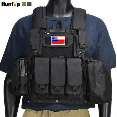$43.69 • Buy Military Tactical Vest With/without Flag Patch Loaded Gear Molle Plate Carrier