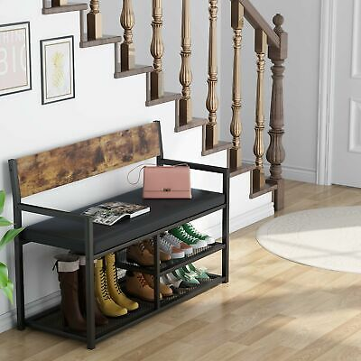 Tribesigns Bench With Backest Upholstery Shoe Bench W/ Shelf For Hallway Bedroom • 64.99£