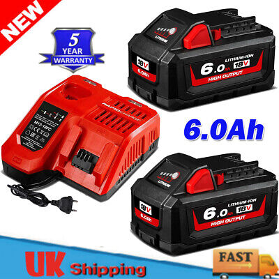 2 NEW 6.0Ah Battery Or Charger For Milwaukee M18 18V XC 6.0 Lithium  48-11-1860 • 42.99£