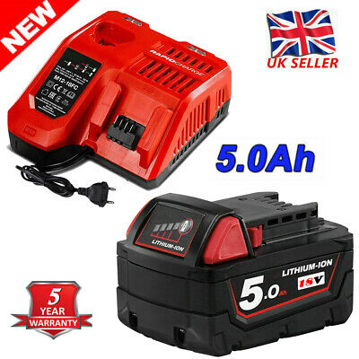 For Milwaukee M18 Lithium XC 5.0 AH Extended Capacity Battery Charger 48-11-1860 • 21.99£