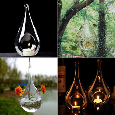 6x Glass Teardrop Shaped Tea Light Candle Holders Hanging Baubles Christmas Deco • 9.95£
