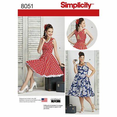 Simpliciy SEWING PATTERN 8051 Misses/Womens Rockabilly Dresses 10-18 Or 20W-28W • 10.99£