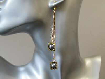£9.95 • Buy Grey Pearls In Encased Square Double Chain Long Slim Gold Plated Earrings