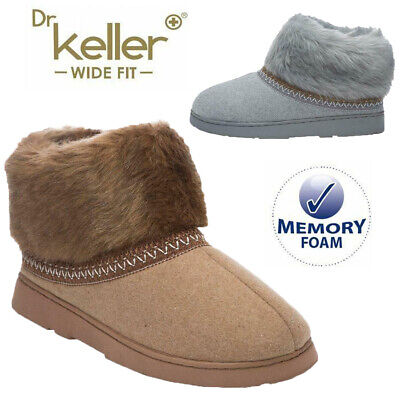 Ladies Slippers Women Wide Fit Memory Foam Fur Thermal Ankle Boots Warm Shoes • 9.95£
